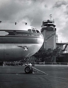 Pan American Airways Clipper Glory of the Skies, at Honolulu International Airport, 1950s.