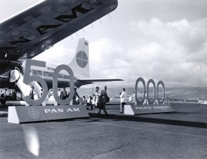 Celebrating Pan American Airways 50,000th flight, Honolulu International Airport, April 29, 1959.