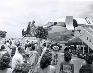 Ceremony for First 707 jet flight into Honolulu International Airport by Qantas, July 31, 1959.