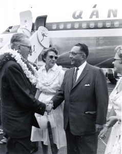 Governor William Quinn welcomes the first 707 jet flight into Honolulu International Airport by Qantas, July 31, 1959.