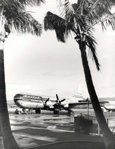 United Airlines Mainliner Stratocruiser at Honolulu International Airport, 1950s.