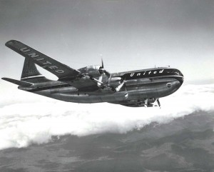 United Airlines in flight over Honolulu, 1950s.