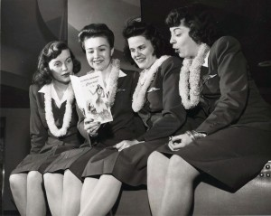 United Airlines flight personnel at Honolulu International Airport, 1950s.