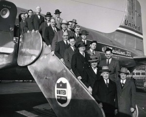 U.S. House of Representatives' Commerce Committee members embarked on a survey trip to Hawaii regarding statehood, Honolulu International Airport, 1950s.