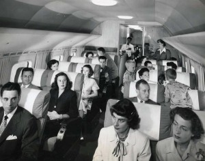 Interior of United Airlines aircraft, 1950s.
