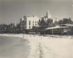 Famous Royal Hawaiian Hotel on Waikiki Beach, 1951.