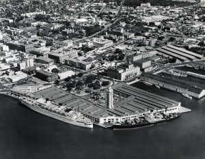 Honolulu Harbor and Aloha Tower, 1950s.