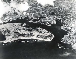 Sand Island and Honolulu Harbor, far right, c1950s.
