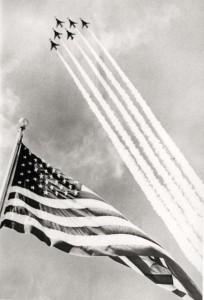 F-100s fly over Hickam Air Force Base, Hawaii, 1960s.