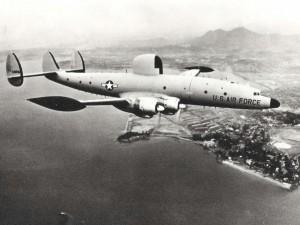 Lockheed C-121 Super Constellation at Hickam Air Force Base, Hawaii, 1960s.