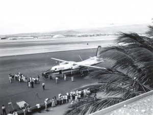 First arrival of Aloha F-27 at Honolulu International Airport, 1961.