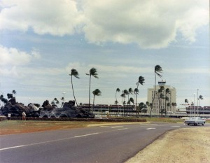 Entry road to Honolulu Interntaional Airport and Fountain, 1964.