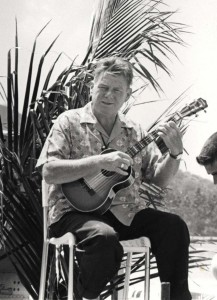 On July 12, 1964 the roadway in front of the Lei Stands at Honolulu International Airport was dedicated to legendary entertainer Arthur Godfrey. The ukulele-strumming Godfrey had been visiting the islands and promoting them on his nationally-televised radio and television shows for more than 20 years. He was a life-time aviation buff and held a commercial airline pilot certificate. He was a pilot/ambassador for Eastern Airlines and even took pilot certification lessons from Hawaiian Airlines.