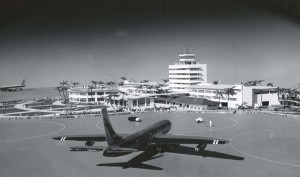Artist's drawing of new Honolulu International Airport Building and airfield, 1960s.
