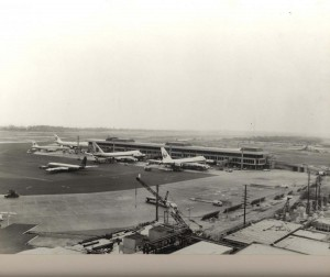 Ewa Concourse, Honolulu International Airport, 1960s. Construction on-going on Main Terminal.