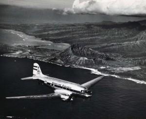 Hawaiian Airlines flies over Koko Head, 1962.