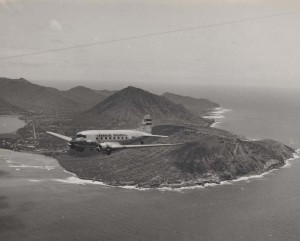 Hawaiian Airlines flies over Koko Head.