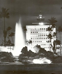 Lighted fountain at Honolulu International Airport with Administration Tower in background, 1966.