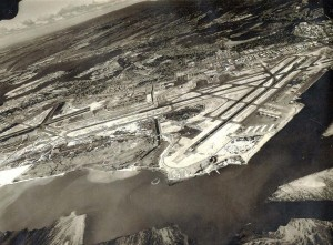 Honolulu International Airport before Reef Runway was built, 1960s.