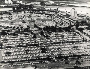 This is what the parking lot looked like at Honolulu International Airport before the new parking structure was built, 1966.