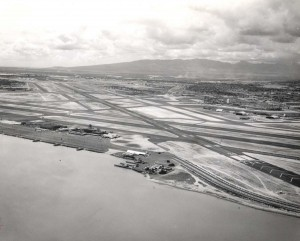 Old Honolulu International Airport on Lagoon Drive, South Ramp, March 1964.