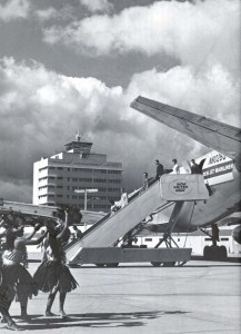 Hula girls welcomed United Airlines' first DC-8 Mainliner, 1960s.