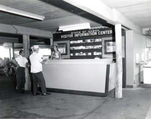 Visitor Information Program desk, Kona Airport, 1966.