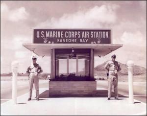 Sentries at entry to Marine Corps Air Station Kaneohe Bay.