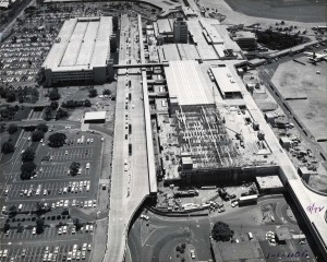 Construction of Ewa Ticket Lobby Extension, Honolulu International Airport, 1974.