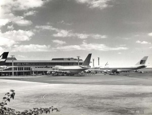 Northwest Orient and United Airlines at Diamond Head Concourse, Honolulu International Airport, 1977.