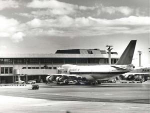 Northwest Orient at Diamond Head Concourse, Honolulu International Airport, 1977.