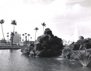 Fountain on entry road, Honolulu International Airport, 1980s.