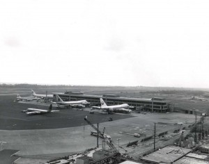 Planes at Ewa Concourse, Honolulu International Airport, 1970s.