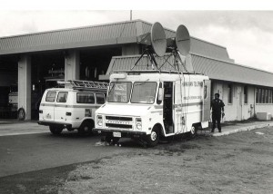 Hawaiian Telephone crews monitor the space station from the Air Rescue Fire Fighting Station at Honolulu International Airport, 1970s.