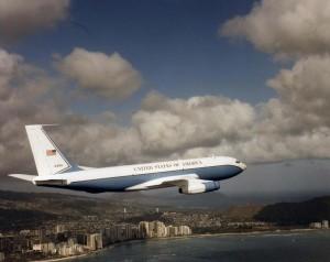 C-135 flies over Waikiki, 1970s