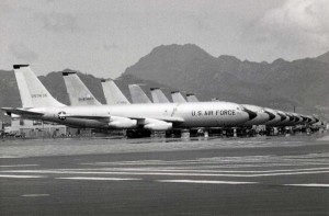 KC-135s on flight line at Hickam Air Force Base, 1970s.