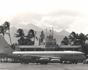 KC-135s on flight line at Hickam Air Force Base, Hawaii, 1970s.
