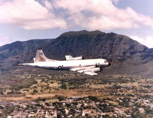 Navy Plane over Marine Corps Air Station Kaneohe, 1970s.