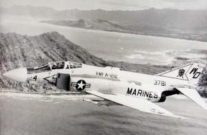 F-45 Phantom jet over Kaneohe Bay, 1973-1973.