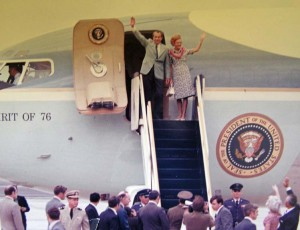 President and Mrs. Richard Nixon arrive at Marine Corps Air Station Kaneohe, 1976.