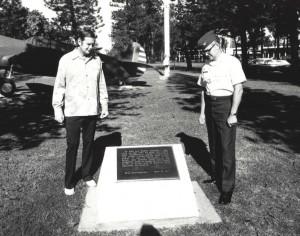 Dick Rodby, President, Kemoo Farms, and Col. Gerald P. Alexander, Wheeler Air Force Base Commander, look at plaque commemorating the 50th anniversary of the first Army Air Corps flight by 1st Lieutenants Maitland and Hegenberger from California to Hawaii on June 29, 1927.