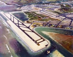Artist's drawing of the Reef Runway, Honolulu International Airport, November 1975.