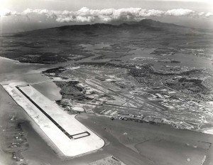 Reef Runway construction at Honolulu International Airport, 1976.