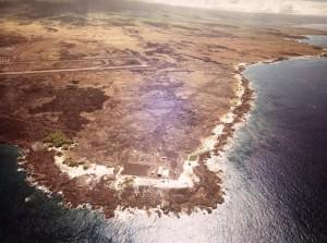 Keahole Airport, Kailua-Kona, Hawaii, Runway at top, and Natural Energy Lab at bottom, September 26, 1980.