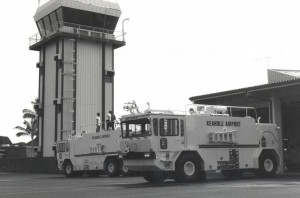 FAA Tower and Aircraft Rescue and Fire Fighting Station, Keahole Airport, Kailua-Kona, Hawaii, 1980s.