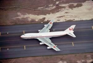 Japan Air Lines landing at Honolulu International Airport, 1983.
