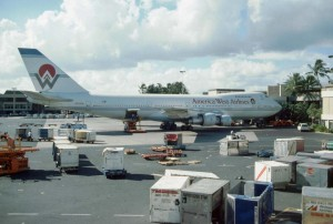 America West Airlines at Honolulu International Airport, 1989.