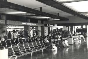 Waiting area, Honolulu International Airport, 1980s.