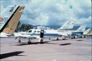 Royal Hawaiian Air Service planes at Commuter Terminal, Honolulu International Airport, 1988.