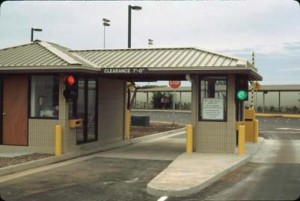 Parking exit plaza in Commuter Terminal, Honolulu International Airport, June 1988.